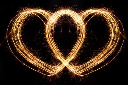 Valentines Day -  Hard Shape sparkler firework  alphabet Stock Photo