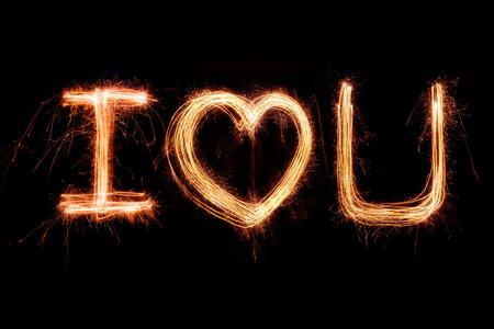 te amo: D�a de San Valent�n - te amo Alfabeto sparkler fuego artificial luz