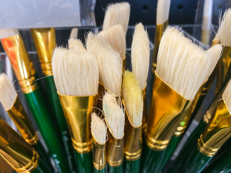 Paint brushes and paint color photo