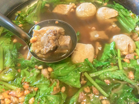 Pork Spare Ribs Spicy Soup with Meatballs photo