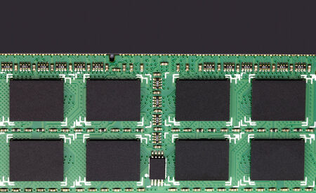 Closeup of RAM Circuit board with processor photo