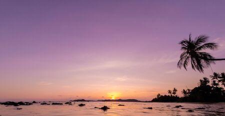 Coconut trees silhouette at sunset, Koh Mak island, Thailand photo