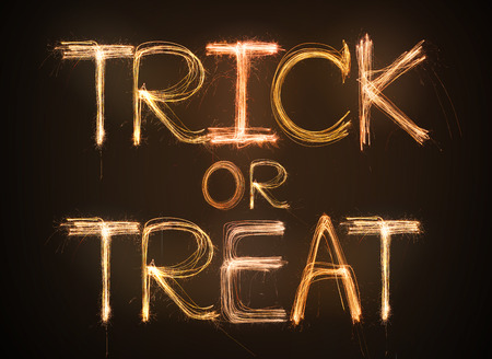 Trick or Treat sparkler firework light alphabet photo