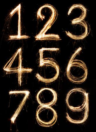 Number alphabet made from sparkler firework, light alphabet Standard-Bild