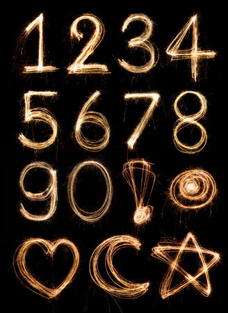 numbers: Number alphabet made from sparkler firework, light alphabet Stock Photo