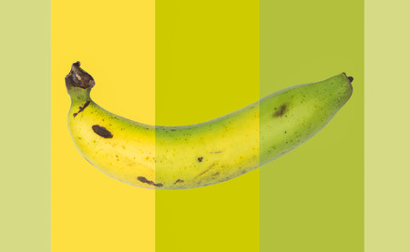 Changes of banana fruit on colour background photo