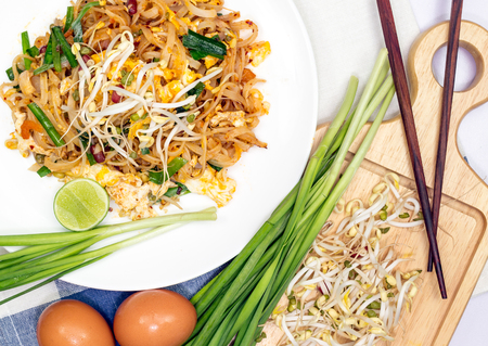 Thailands national dishes, stir-fried rice noodles photo