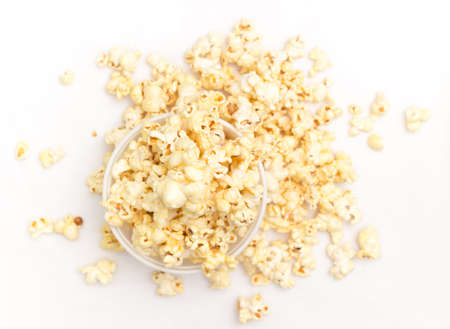 bowl of popcorn: Popcorn isolated on the white background