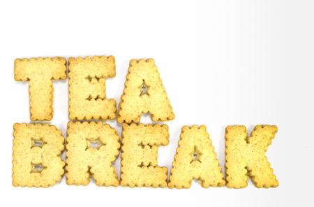 Tea Break typography concept made from Cookies photo