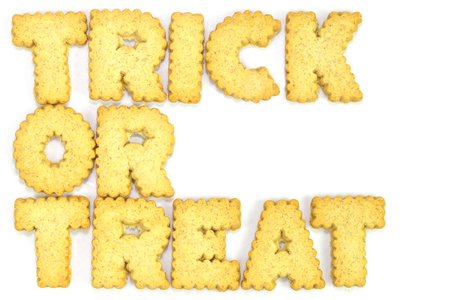 Trick or treat  typography concept made from Cookies photo