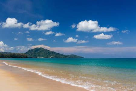 Beautiful beach with blue sky at Mai khao beach, Phuket, Thailand photo
