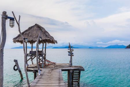 Wooden pier in tropical Sea,Koh Mak island,Thailand photo