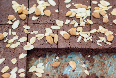 Homemade Chocolate Brownies with almonds photo