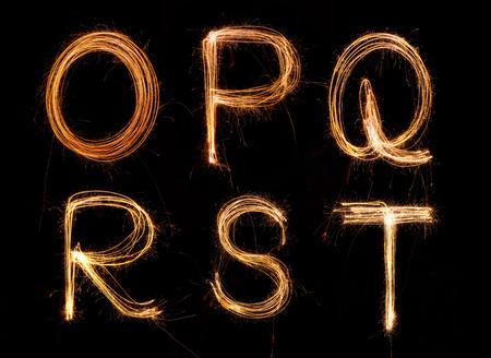 Sparkler firework light alphabet O-T