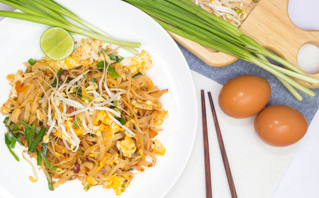 Thai style noodles with Eggs photo