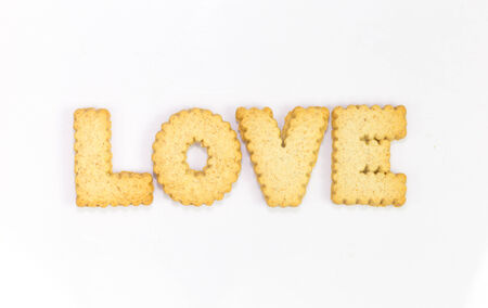 Love typography concept made from Cookies photo