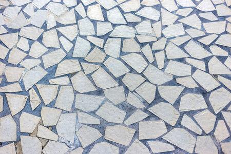 flagstone: Granite gray flagstone pavement footpath background texture Stock Photo