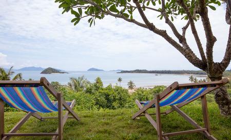 Beach chairs on the beach viewpoint photo