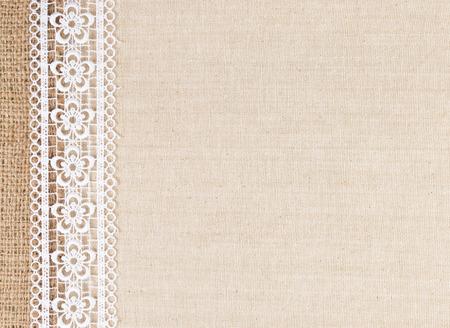 패브릭 질감 배경에 레이스 꽃 프레임 스톡 콘텐츠