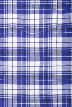 Close up of Blue Plaid Shirt Pocket photo