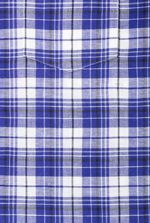 Close up of Blue Plaid Shirt Pocket photo