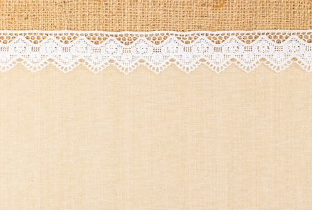 White Ornamental Lace over canvas and Burlap design for border or background