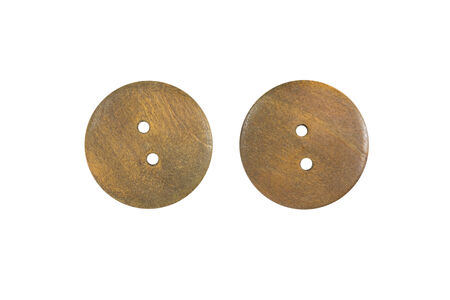 suture: Wooden Clothes Button isolate on white background Stock Photo
