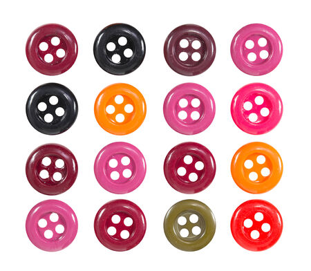 Collection of WARM TONE Color Clothes Button isolate on white background photo