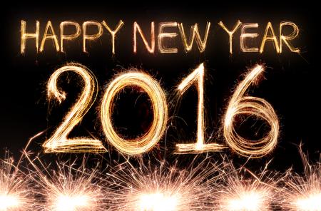 nouvel an: Happy new year 2,016 �crit avec feu d'artifice �tincelle Banque d'images
