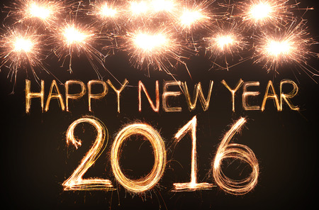 anniversaire: Happy new year 2,016 �crit avec feu d'artifice �tincelle Banque d'images