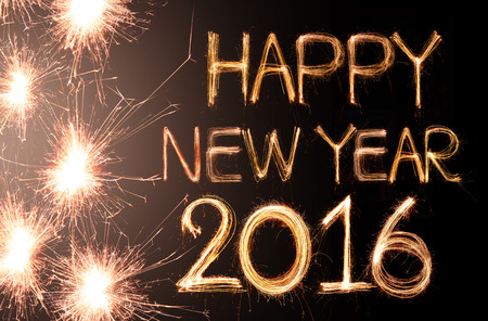 happy new year: Happy new year 2016 written with Sparkle firework Stock Photo
