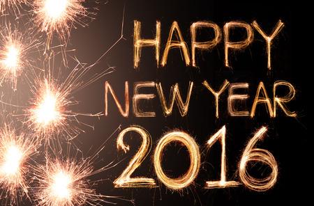 nowy: Szczęśliwego nowego roku 2016 napisane z Sparkle fajerwerków