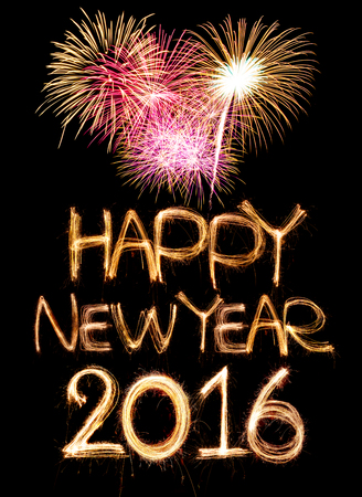 happy new year 2016 word made from sparkler firework light Stock Photo