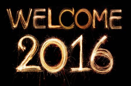 welcome sign: Welcome 2016 word made from sparkler firework light