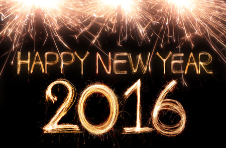 new designs: Happy new year 2016 written with Sparkle firework Stock Photo