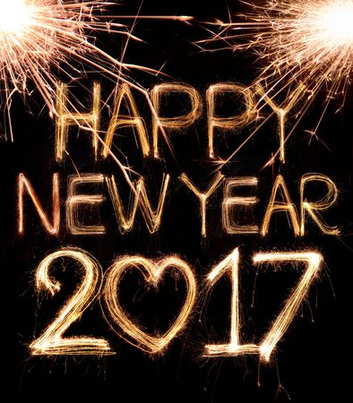 Happy new year 2017 written with Sparkle firework Stock Photo