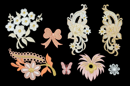 the flower isolated: Isolate Flower Neckline embroidery fashion Stock Photo