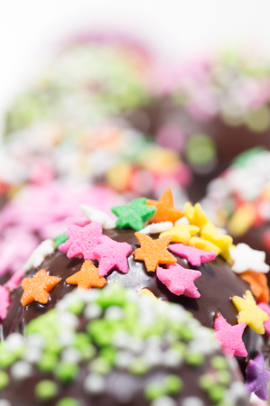 cake balls: Close-up of Homemade Cake pops or Chocolate Cake Balls with sweet topping Stock Photo