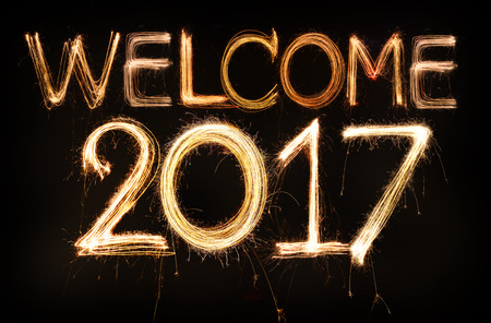 Welcome 2017 word made from sparkler firework light