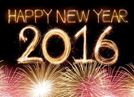 Happy new year 2016 word made from sparkler light firework