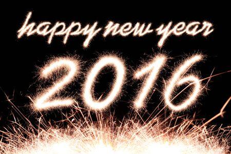 Happy new year 2016 writing sparkles firework