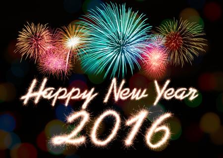 frohes neues jahr: Frohes neues Jahr 2016 mit Feuerwerk geschrieben Sparkle
