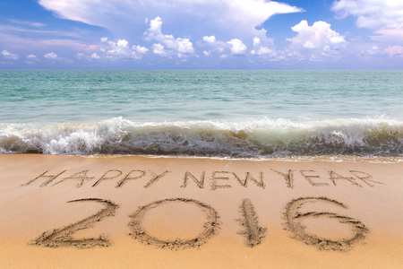 beach happy new year: New Years 2016 is coming concept, Happy New Years 2016 on the sand beach