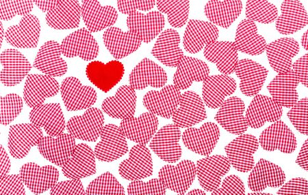 gingham: Red Gingham and red Love heart Valentines background Stock Photo