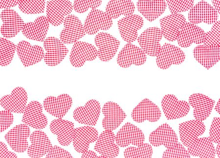 gingham: Red Gingham Love Valentines hearts frame isolate on white