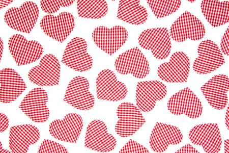 Red Gingham Love Valentines hearts isolate on white