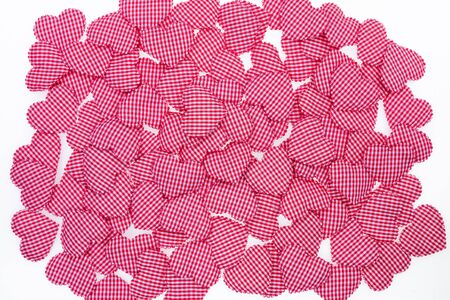 gingham: Red Gingham Love Valentines heart background texture Stock Photo