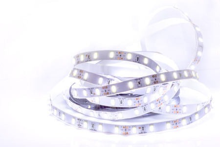 Close up of Led stripe light on white background