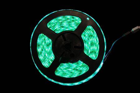 green light bulb: Diode strip. Led lights tape close-up