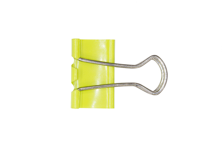 yelllow: Yelllow Paper clip isolated on white background Stock Photo